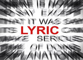 Blured text with focus on LYRIC — Stock Photo