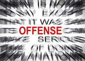 Blured text with focus on OFFENSE — Stock Photo