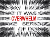 Blured text with focus on OVERWHELM — Stockfoto