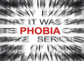 Blured text with focus on PHOBIA — Stock Photo
