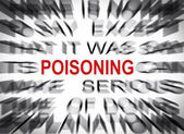 Blured text with focus on POISONING — Stock Photo