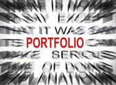 Blured text with focus on PORTFOLIO — Stockfoto