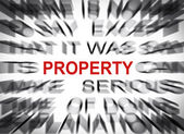 Blured text with focus on PROPERTY — Stock Photo
