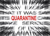 Blured text with focus on QUARANTINE — Stock Photo
