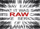 Blured text with focus on RAW — Stock Photo