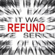 Stock Photo: Blured text with focus on REFUND