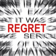 Blured text with focus on REGRET — Stock Photo