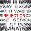 Blured text with focus on REJECTION — Stock Photo
