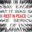Blured text with focus on REST IN PEACE — Stock Photo #33926507