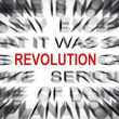 Stock Photo: Blured text with focus on REVOLUTION