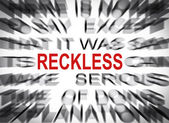 Blured text with focus on RECKLESS — Foto Stock