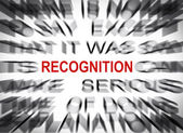 Blured text with focus on RECOGNITION — Stock Photo