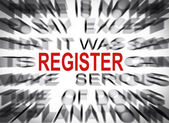 Blured text with focus on REGISTER — Stock Photo