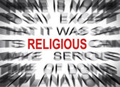 Blured text with focus on RELIGIOUS — Stock Photo