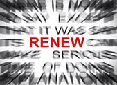 Blured text with focus on RENEW — Stock Photo
