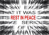 Blured text with focus on REST IN PEACE — Stock Photo