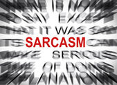 Blured text with focus on SARCASM — Stock Photo