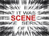 Blured text with focus on SCENE — Stock Photo