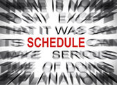 Blured text with focus on SCHEDULE — Stock Photo