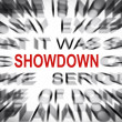 Blured text with focus on SHOWDOWN — Stock Photo