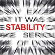 Blured text with focus on STABILITY — Foto Stock