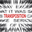Stock Photo: Blured text with focus on TRANSPOSITION