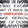 Stock Photo: Blured text with focus on VERIFICATION