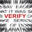 Blured text with focus on VERIFY — 图库照片
