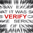 Foto Stock: Blured text with focus on VERIFY