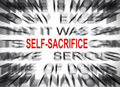 Blured text with focus on SELF-SACRIFICE — Stock Photo