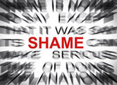 Blured text with focus on SHAME — Stock Photo