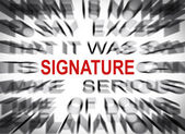 Blured text with focus on SIGNATURE — Stock Photo