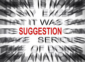 Blured text with focus on SUGGESTION — Stok fotoğraf