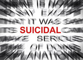 Blured text with focus on SUICIDAL — Stock Photo