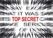 Blured text with focus on TOP SECRET — Stock Photo