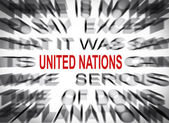 Blured text with focus on UNITED NATIONS — Stock Photo