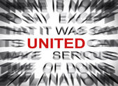 Blured text with focus on UNITED — Stock Photo
