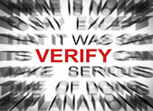 Blured text with focus on VERIFY — Stock Photo