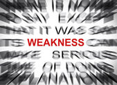 Blured text with focus on WEAKNESS — Stock Photo