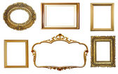 Set of golden vintage frames isolated on white background — Stockfoto