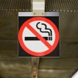No smoking sign on hanging on ceiling — Stock Photo