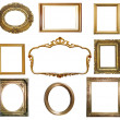 Antique golden frame isolated on white background — Stock Photo