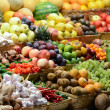 Fruit market with various colorful fresh fruits and vegetables - — Stock Photo #34335125