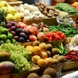 Fruit market with various colorful fresh fruits and vegetables - — Stock Photo #34335769