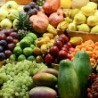Fruit market with various colorful fresh fruits and vegetables - — Stock Photo #34335829