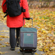 Woman walking with travel bag in Autumn park — Stock Photo