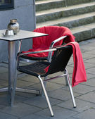 Cafe chairs with blankets - Winter season concept — Stockfoto