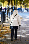 Old lady walking with stick — Стоковое фото
