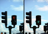 Set of pedestrian light lights with walk and go lights — Stock Photo
