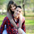 Closeup on young beautiful smiling couple — Stock Photo